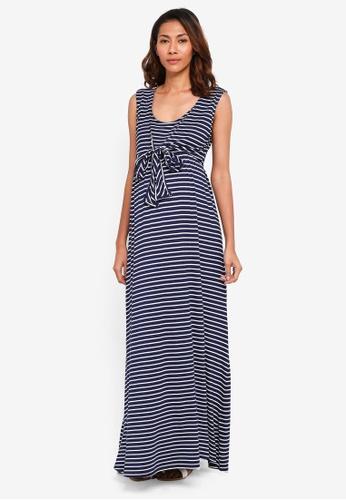 JoJo Maman Bébé navy Maternity Breton Stripe Maxi Dress 7E920AA6AAB2B4GS_1
