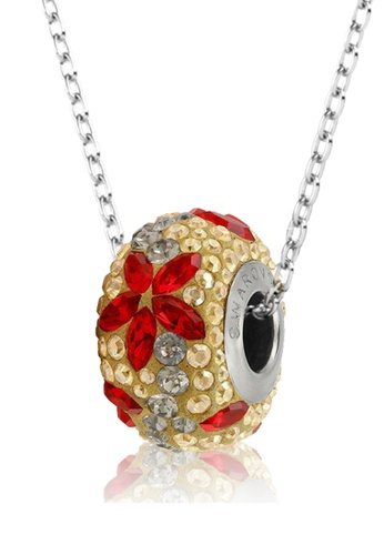 Her Jewellery black and red and gold BeCharmed Pave Flower Garland Bead Pendant (Red) - Made with premium grade crystals from Austria 4FCD2AC2555133GS_1