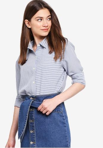 Something Borrowed blue Contrast Checks Oversized Shirt A2F8FAA7AFA33FGS_1