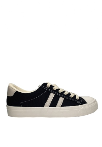Twenty Eight Shoes black Canvas Two Side Stripes Sneakers VCF183 B7542SH5019DD4GS_1