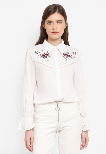 Zalia white Embroidered Shirt F4EF9AAB29CC43GS_1