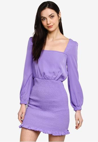 ZALORA BASICS purple Smocked Skirt Dress 7D11EAA0CA6A7CGS_1