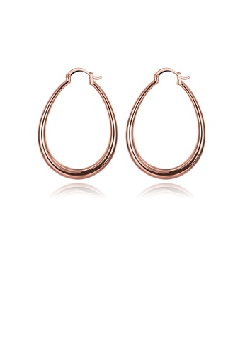 Glamorousky silver Simple Plated Rose Gold Geometric Oval Earrings 11954AC1288EFEGS_1