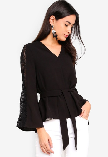 ZALORA black High Low Belted Top With Lace Details 32B48AA62E50D3GS_1