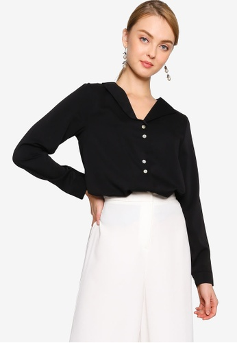 ZALORA WORK black Flap Collar Blouse A78B1AA447920BGS_1