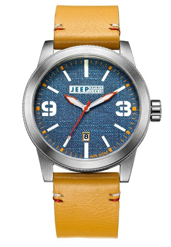 Jeep Spirit Casual Denim Multifunction Watch Jeep JPS70301 Jeans Silver Khaki