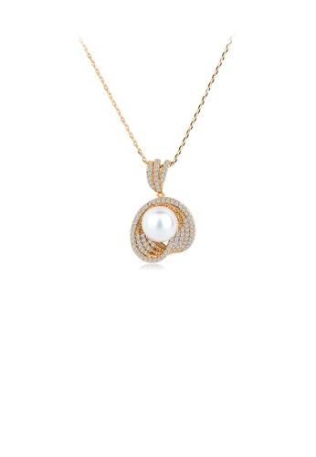 Glamorousky 白色 優雅氣質鍍金色幾何仿珍珠吊墜配鋯石及項鏈 FCEFFAC462EE67GS_1