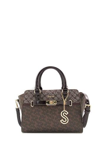 SEMBONIA brown SEMBONIA Coated Canvas Trim Leather Monogram Tote Bag (Dark Brown) SE598AC0S84OMY_1