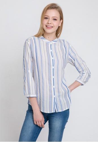 fd6e1530 Bossini white 3/4 Sleeve Striped Shirt with Stand Collar 1AAA3AA64B51E2GS_1