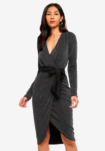 2af71bda11 Lipsy black Pinstripe Long Sleeve Fit And Flare Dress D4185AA7EE7F76GS 1