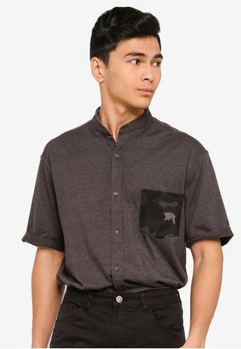 UniqTee grey Short Sleeve Camo Print Pocket Shirt 4CF08AAE9B7018GS_1