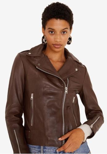 Mango brown Zipper Leather Biker Jacket 29DCAAA2105882GS_1