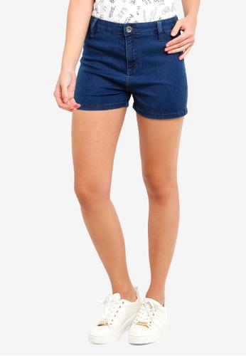 OVS blue Solid Colour Stretch Denim Shorts D8119AA2AF1996GS_1