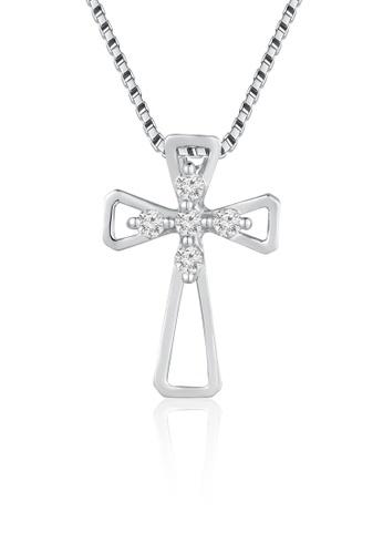 "MaBelle silver 18K White Gold Cross Diamond Pendant With Sterling Silver Pendant With Sterling Silver Chain (16"") MA584AC67IIUHK_1"