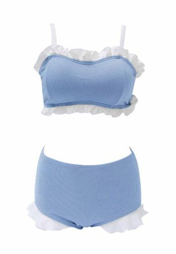 ZITIQUE blue Women's Cute Ruffled Two-piece Swimsuit - Blue D57BAUSDAA3E12GS_1