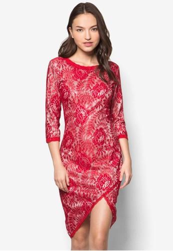 Isabel 蕾絲裹飾開esprit香港門市叉貼身洋裝, 服飾, 服飾