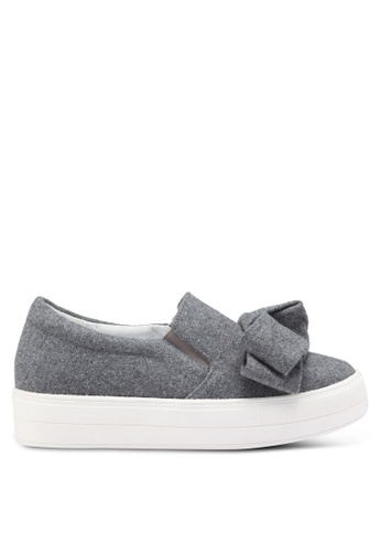 LOST INK grey Sofia Bow Plimsolls 76017SH312235DGS_1