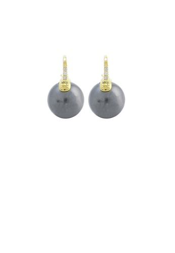 Glamorousky black 925 Sterling Silver Plated Gold Simple and Elegant Geometric Black Freshwater Pearl Earrings with Cubic Zirconia 2F8F3AC359DB00GS_1