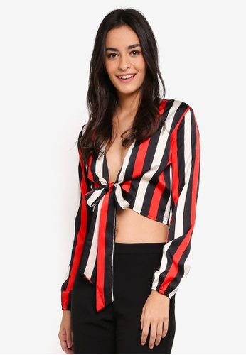 MISSGUIDED black Tie Front Crop Top Stripe A6C38AA445164EGS_1