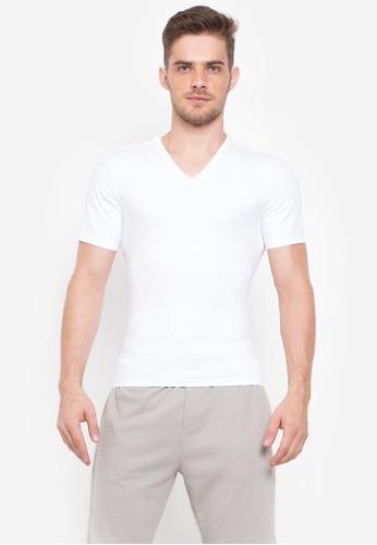 Spanx white Cotton Compression V-Neck 67C8CUSBF5DEE3GS_1
