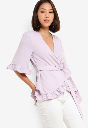 Something Borrowed 紫色 Self Tie Wrap Ruffles Top 4C643AA19058F5GS_1