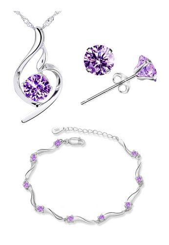 YOUNIQ silver YOUNIQ Wave 925 Sterling Silver Necklace Pendant with Purple Cubic Zirconia, Earrings & Bracelet set YO999AC07SGIMY_1