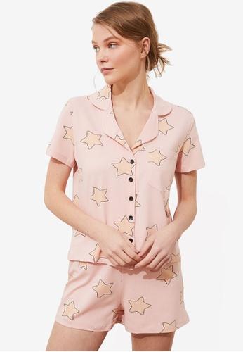Trendyol 粉紅色 印花睡衣組 A10D6AA6260111GS_1