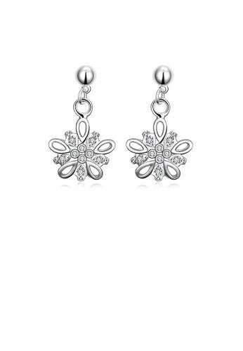 Glamorousky white Fashion Simple Flower Cubic Zircon Earrings 33729ACFFC43B5GS_1