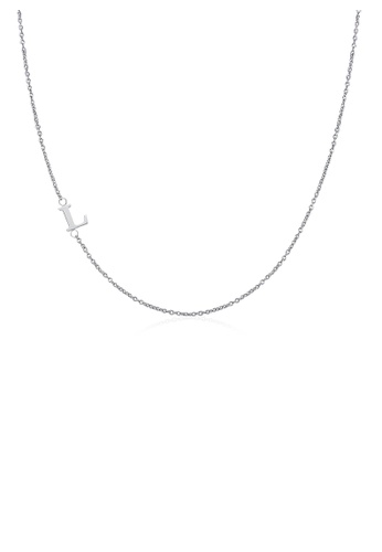 Moody Mood silver .925 Sterling Silver Sideway Letter L Necklace (18k white gold plating) 4E5DEAC1BCE3CEGS_1