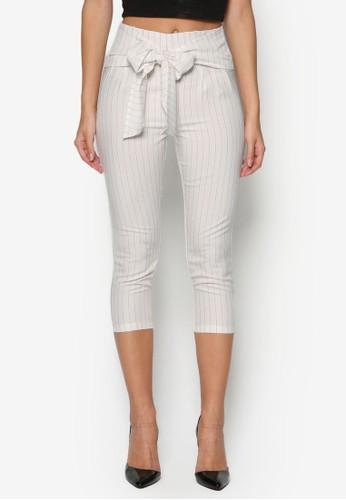 條紋高腰裹esprit旗艦店飾七分褲, 服飾, 長褲及內搭褲