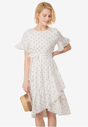 Kodz white Dot Print Waterfall Dress 3A47BAA3D4125BGS_1