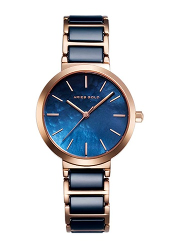 Aries Gold blue Aries Gold Enchant Black and Rose Gold Watch 71299ACCC4064FGS_1