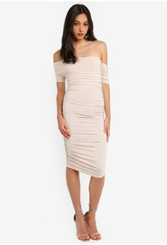 1a4f7605c77 35% OFF MISSGUIDED Bardot Ruched Midi Dress RM 119.00 NOW RM 76.90 Sizes 6  8 10 12 14