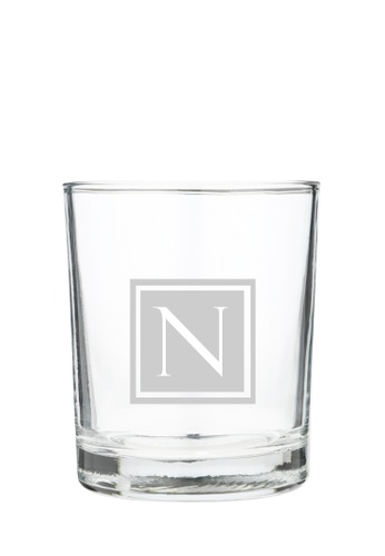 Myriad Print Concepts white Whisky Scotch Glass (Glass-etched Initial) A67CBESEB84926GS_1