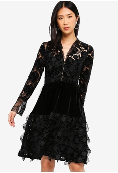 58fb6e5176d Sizes 8 10 12 · French Connection black Cynthia Velvet Lace Mix Dress  45AB4AA47964A8GS 1