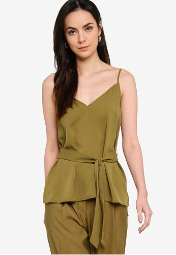 French Connection green Asain Light Solid Belted Cami Top D2591AAD1A2FF7GS_1