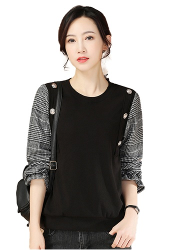 A-IN GIRLS black Two-Layers Stitching Black Plaid Top 32482AAD65ECC9GS_1