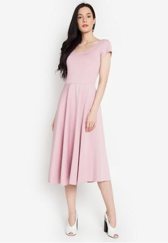 Shop Gene M Gozum Scoop Neck Crisscross Low Back Tea Dress Online