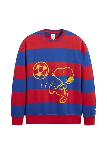 Levi's blue Levi's x Peanuts Striped Relaxed Crewneck Sweatshirt 23894-0003 6D319AA52AE8B0GS_1