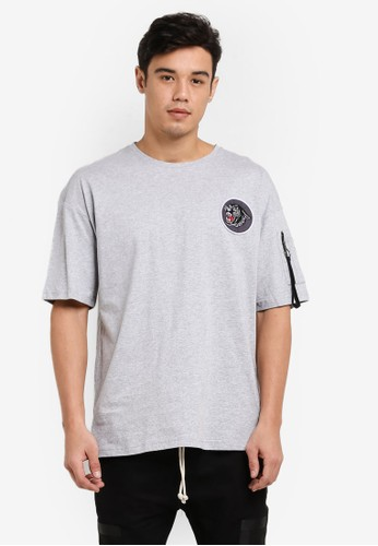 Flesh IMP grey Panther Patch Oversized Box Cut T-Shirt FL064AA81WZAMY_1
