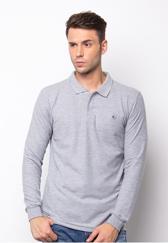 Gyffrous Polo Shirt Plain Grey
