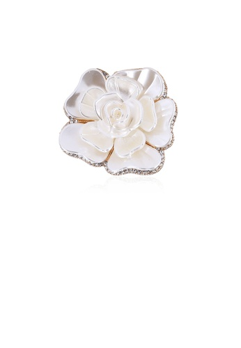Glamorousky white Fashion and Elegant White Flower Brooch with Cubic Zirconia 624D9ACB781205GS_1