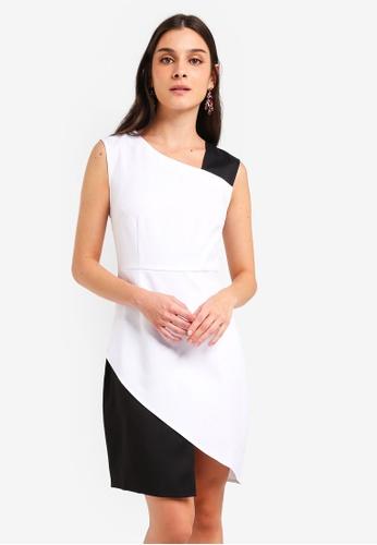 ZALORA white and multi Asymmetrical Sheath Dress F1914AA5E30735GS_1