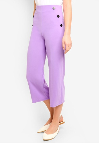 Miss Selfridge pink Lilac Button Side Wide Leg Trousers F2522AA8FFAC83GS_1