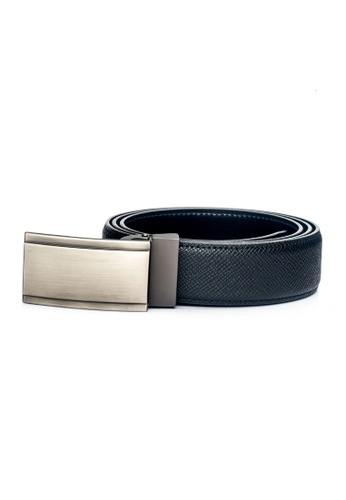 ENZODESIGN black Desiged Saffiano Leather Plaque Buckle Belt EN357AC0F58NSG_1
