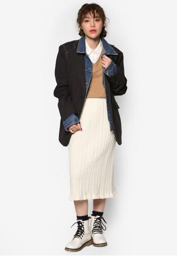 韓系時尚丹寧西裝拼接外套, 服飾zalora 內衣, 丹寧外套