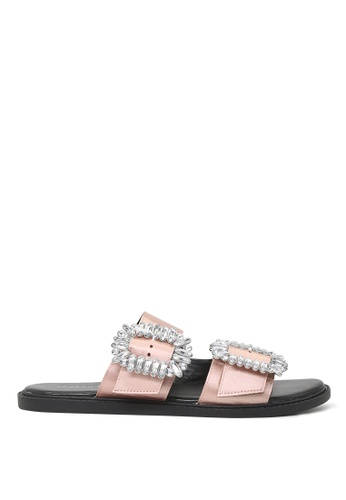 London Rag pink Frida Double Strap Flat Sandals SH1573 605B1SH8F49F2FGS_1