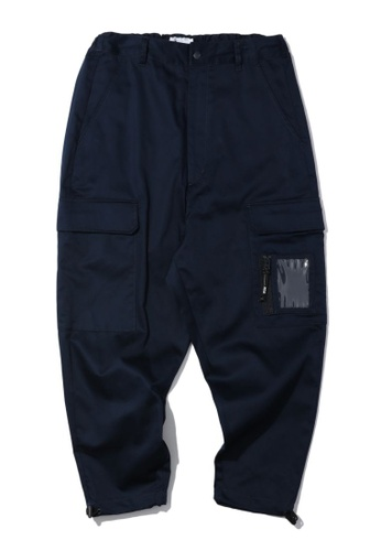 izzue navy PVC patch cargo pants F5A3CAA19DEA53GS_1