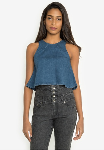 NEXT navy Denim Crop Top NE725AA0JXKKPH_1