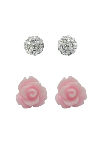 Fur Nyce pink and silver Romantic Rose Stud Earring Set FU779AC13VECMY_1